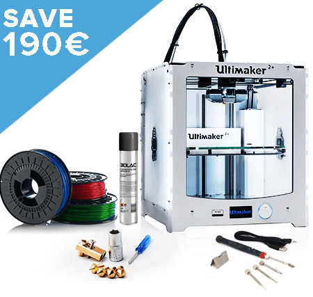 Ultimaker 2+ Starter Bundle includes 3 spools of PLA from Octofiber, extended warranty and Modifi3D finishing tool