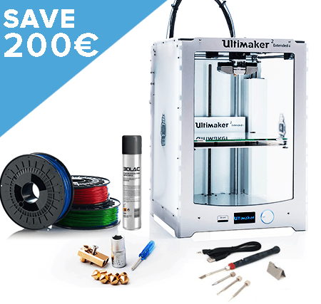Nu kopen Ultimaker 2+ Extended Super Bundle includes 10 spools of PLA from Octofiber, Olsson Block and Modifi3D finishing tool