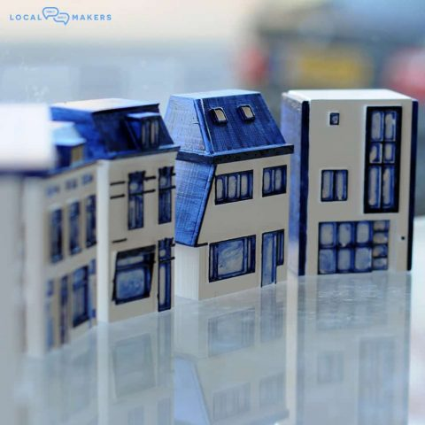 custom 3D printed KLM houses by Local Makers in Amsterdam