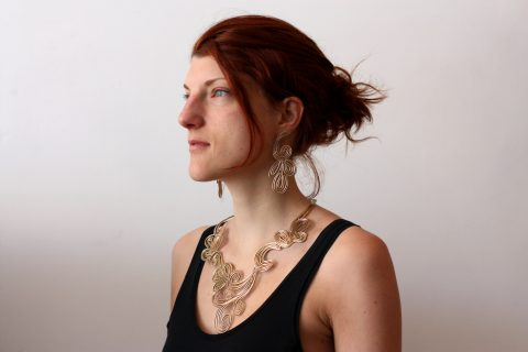 3D printed necklace and earring in brass by Local Makers