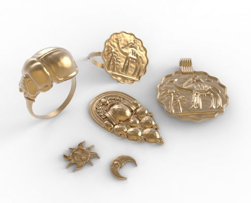 3D renders of jewelry by Local Makers